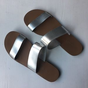 J. Crew silver leather two-strap slide sandals - 6